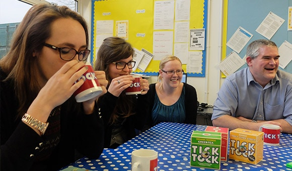 Teachers sharing laughs
